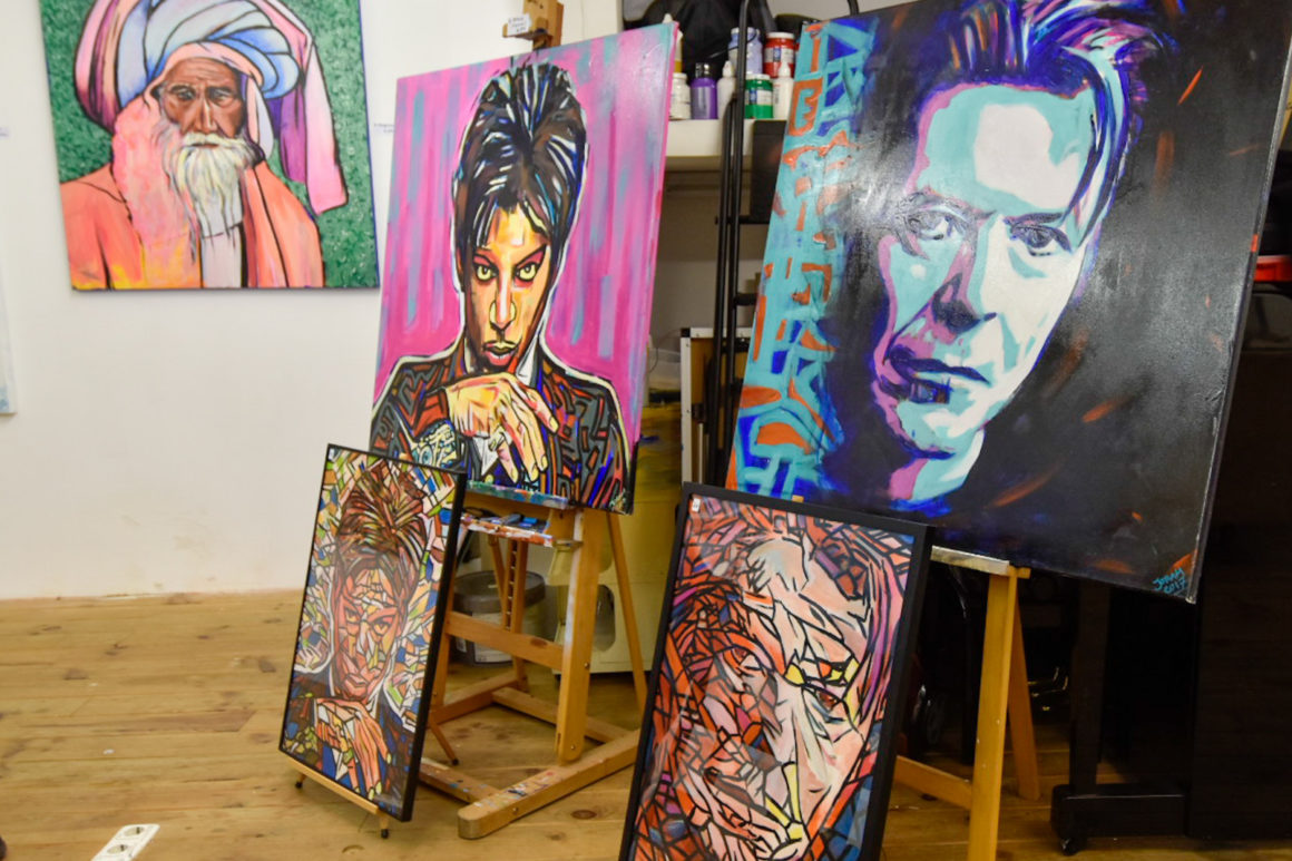 Joram Baruch painting of David Bowie and Prince exhibition